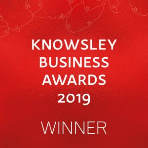 A red block containing the words 'Knowsley Business Awards 2019 - Winner' in white text.