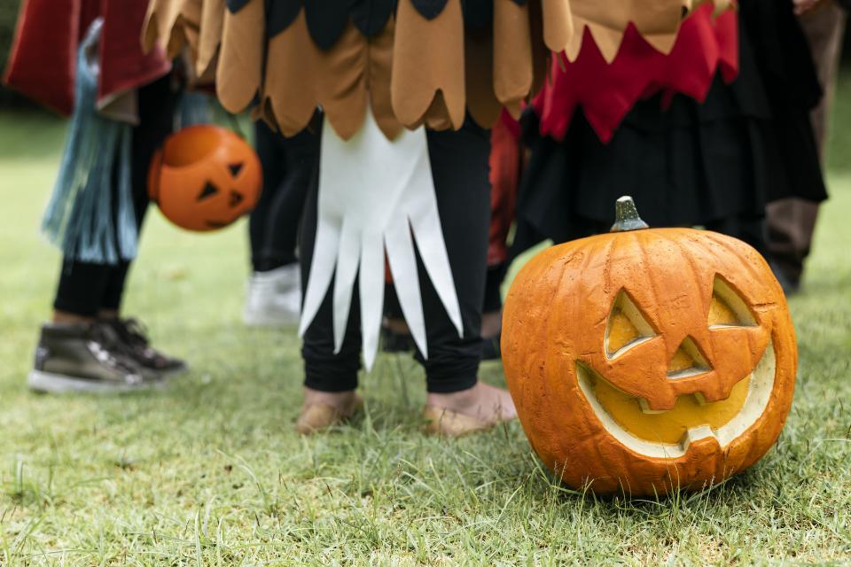 Kids dressed in halloween costumes